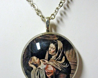 Madonna and child pendant with chain - GP01-210