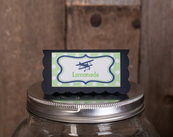 Vintage Airplane Theme Food Tents - Menu Cards - Place Cards - Food Signs - Airplane Party & Shower Decorations in Navy Blue and Green (6)