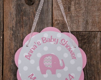 Elephant Baby Shower Decorations - Elephant Baby Shower Door Hanger, Pink Elephant Baby Shower Decorations, It's a Girl Sign in Pink & Grey