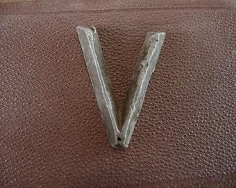 Letter V Marker Tag Art Deco Retro Mid Century Vintage Hardware