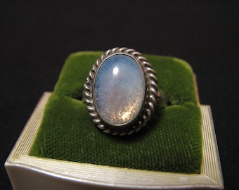 Vintage Taxco Mexico Sterling Silver Foiled Rainbow Art Glass Ring Size 8.5