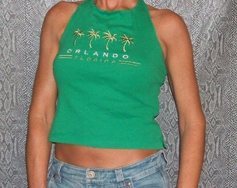 Halter Top CLEARANCE 6.00! Orlando Florida Recycled Halter Top Upcycled T Shirt Repurposed Fashion Clothing, Green, Medium, Embroidered