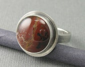 brecciated red jasper solid sterling silver ring. brick red jasper ring. sterling stone ring. silver red statement ring. size 8.5