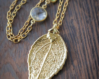 Gold Dipped Evergreen Leaf Necklace - Citrine, Crystal Quartz - Layering Necklace