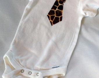 Baby Boys Necktie Onesie // Necktie Clothes // Tie Bodysuit // Size 6-9 Months // Giraffe Print Tie