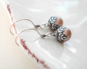 Powder Almond Pearl Earrings In Sterling Silver. Bridal Pearl Earrings, Pastel Dangle Earrings. Drop Pearl Earrings, Gift For Her Under 25