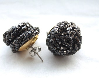 Vintage 1950's Elegant Iridescent hand beaded / Black Grey Earrings // Pierced Backs/ nos