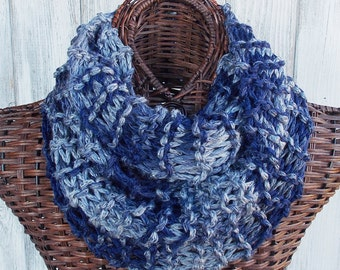 SALE Knitted cowl in dark blue and light blue ombre, fashion accessory for women