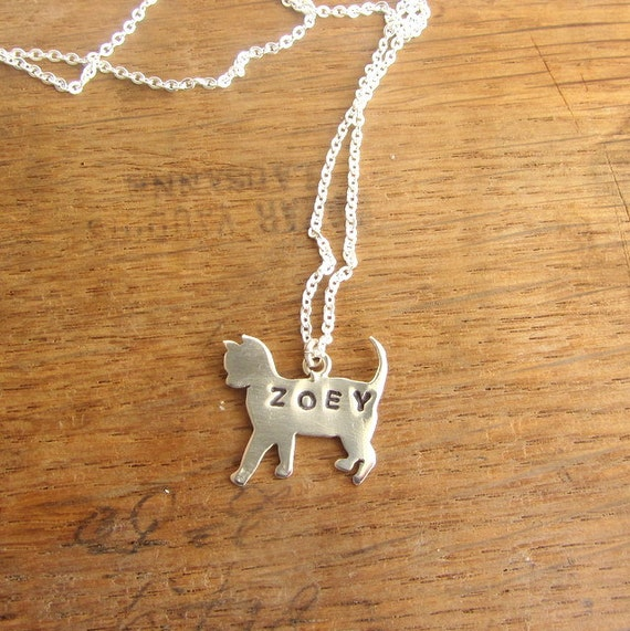 Custom Name Sterling Silver Cat Necklace Personalized