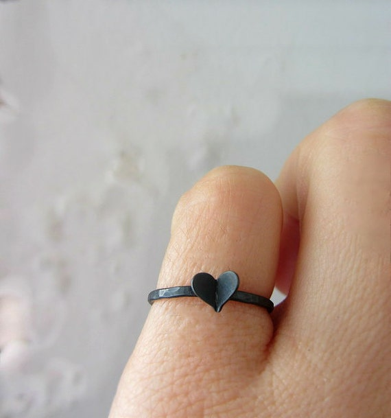 Black heart ring, oxidized sterling silver skinny ring.