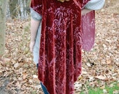 Velvet Devore Cape / Handmade Maroon Wrap / Red Brown / Couture Hand Dyed