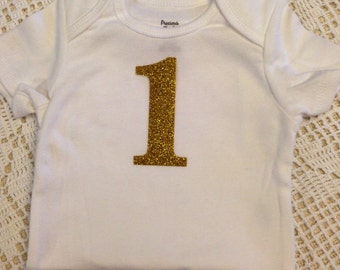 gold glitter iron on vinyl 1 number for yearly monthly or birthday onesie lettering only