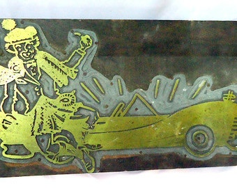 Large Vintage 30s/40s Brass Printer Letterpress Stamp Big Wig Plaque