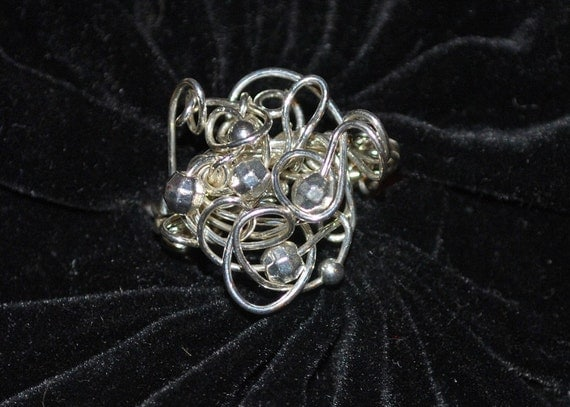 "Sterling Silver Wire and Bead ""Chaotic""  Wire Wrapped Ring"