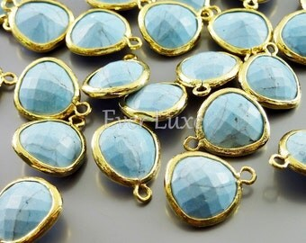 2 blue turquoise charms for jewelry making / jewelry jewellery supplies / craft supplies 5031G-TQ (bright gold, turquoise, 2 pieces)