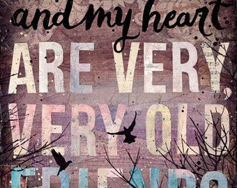 Your Heart and My Heart - paper print - inspirational hafiz quote, word art with typography