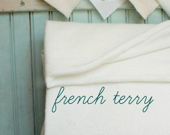Organic French Terry Yard - 62 Inches - Extra Wide 15.5 OZ Eco Friendly Cotton Fabric - Made in the US - French Terry Cloth White