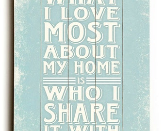 What I love Most About My Home Is Who I Share It With  -  Saying Pale Blue Slatted Wood Sign
