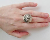 Repurposed Metal Silver Crest Button Adjustable Ring