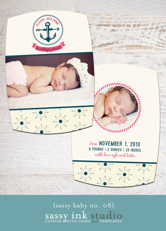 photo birth announcement nautical baby announcement baby