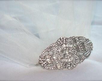 Art Deco Crystal Comb, Rhinestone Comb Hair Accessory, Vintage Rhinestone Hair Comb, Crystal hair piece deco wedding veil comb