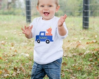 Personalized Birthday Shirt Truck with Number Applique