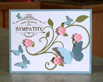 """Stampin Up Sympathy Card - 4 1/4"""" x 5 1/2"""" - Thanks for Caring - Embossed Butterflies - Dimensional Flowers & Die-Cut Flourish"""