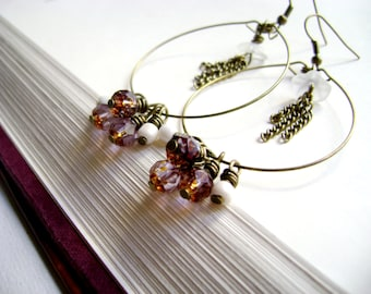 vintage inspired earrings - Romantic Shades - pink purple czech and flower beads long