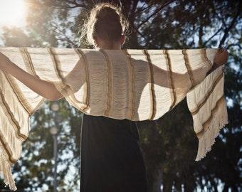 Gold Arete - Handwoven shawl