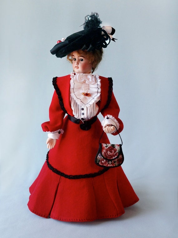 """12"""" French Fashion doll  AFTERNOON DRESS pattern for circa 1905 clothing."""
