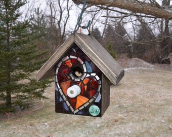 STAINED GLASS Mosaic Birdhouse with a HEART Love ceramic tile