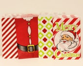 Paper Bags, 24 Christmas Party Assorted Favor Bags, Holiday Party Favor Bags, Paper Candy Bags, Santa Bags, Red Paper Bag, Green Paper Bag