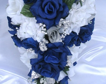 Reserved listing Wedding Bouquet flowers Bridal Silk Cascade dark BLUE ROYAL SILVER 20 piece package  boutonniere corsage RosesandDreams