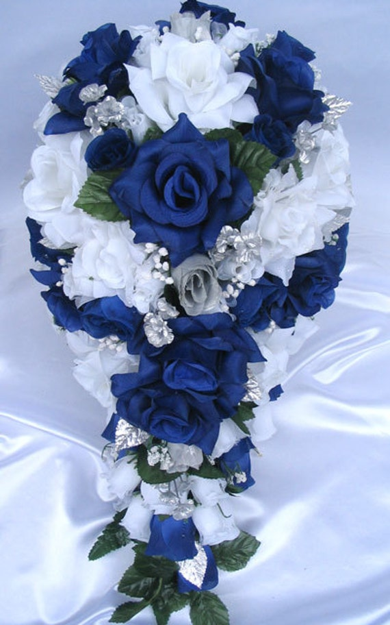 Wedding Bouquet Flowers Bridal Silk Cascade Dark BLUE ROYAL