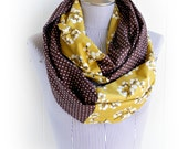 Burnt Umber Blossom and Brown Polka Dot Mash Up Infinity Scarf, Mustard and Chocolate Brown Scarf