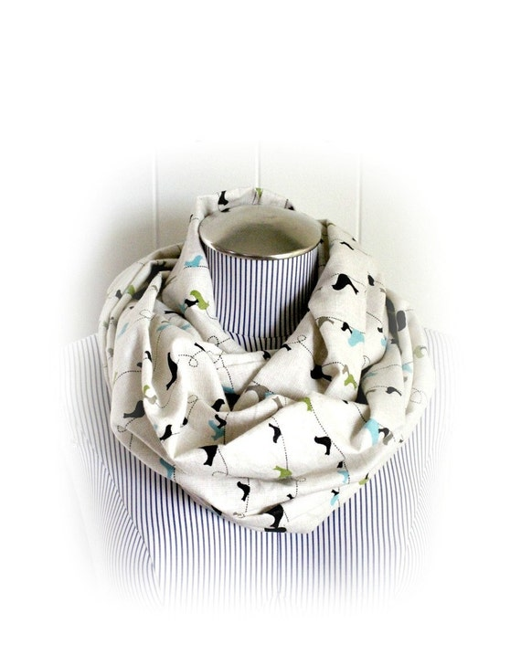 Birds on a Wire Infinity Scarf, Silhouette Birds in Olive Green, Blue and Black on a beige background