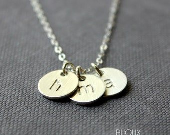 Initial Disc Necklace - Three Discs - 925 Sterling Silver
