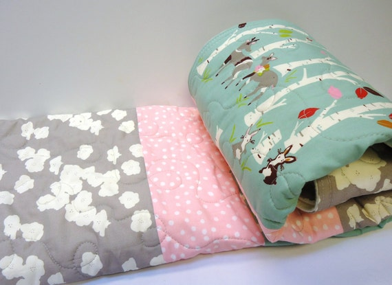 Modern baby girl quilt organic rustic crib by nowandthenquilts - Modern baby girl crib bedding ...