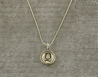 Letter Q - Silver Initial Typewriter Key Charm Necklace - Gwen Delicious Jewelry Design GDJ