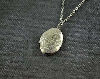 Small White Ornate Locket Necklace -  Oval White Pendant Delicate - Simple and Long Fashion
