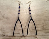 TAXIDERMY COUTURE Navy Wishbone Earrings