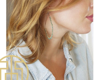 Large Turquoise Wire Wrapped Hoop Earring, H13-40L