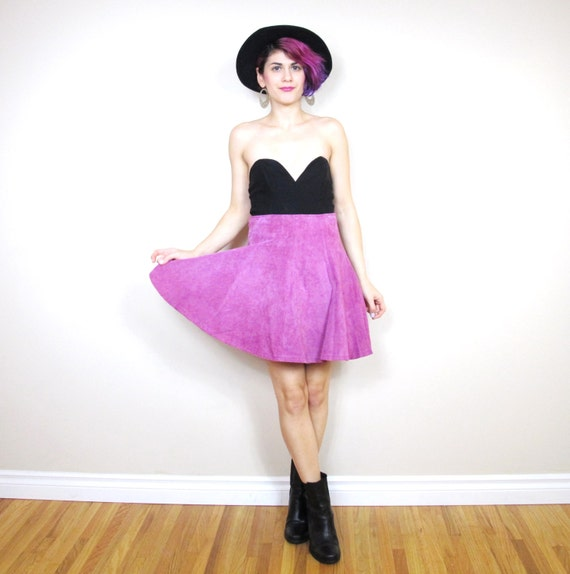 90s pink leather mini skirt vintage suede skater