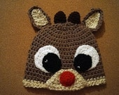 MADE TO ORDER Crochet Christmas Winter Rudolph Reindeer Hat Infant Toddler Sizes Photo Prop