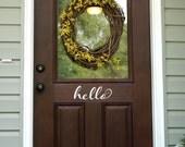 Hello Door Decal - Front Door Decal - Script Decal - Wall Decal - 2