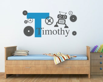 Initial with Boys Name Wall Decal - Robot & Gears Decal - Personalized Boy Decal - Large