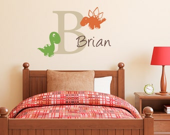 Name Wall Decal with Initial & Cute Dinosaurs - Boy Bedroom Wall Sticker - Medium