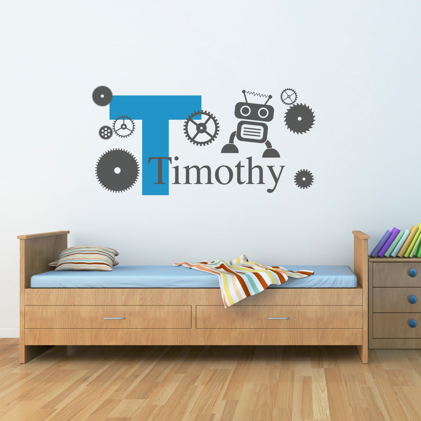 initial with boys name wall decal robot gears decal. Black Bedroom Furniture Sets. Home Design Ideas
