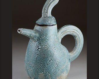 Porcelain Decorative Handmade Ceramic Teapot in Blue. Original Ceramic Art by artist  Boris Vitlin