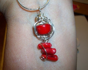 Silver Wrapped Branch Coral  Pendent   Wire Wrapped  Free Shipping in the USA